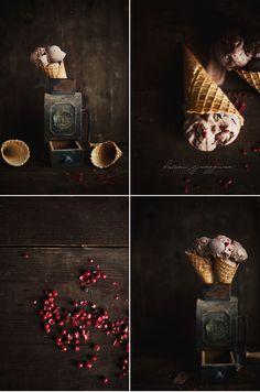 Chocolate Ice Cream with Pink Peppercorns by Helena Ljunggren Frozen Desserts, Frozen Treats, Dark Food Photography, Photo Mosaic, Food Wallpaper, Chocolate Ice Cream, Caramel, Cute Food, Gelato