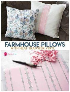 Farmhouse style pillow with heat transfer vinyl Vinyl Crafts, Vinyl Projects, Cheap Heat Transfer Vinyl, Mod Melts, How To Dye Fabric, Dyeing Fabric, Farmhouse Style Decorating, Farmhouse Decor, Newborn Onesies