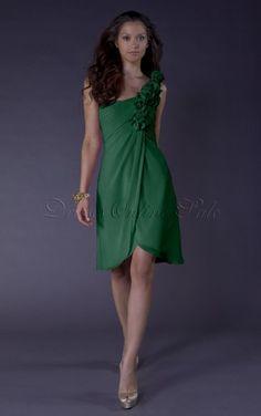 Pink A-line Knee-length One Shoulder Dress