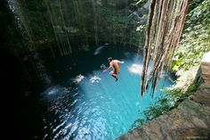 Swim in the Sacred Blue Cenote in Mexico. On your bucket list? This is a perfect day place to spend a morning or afternoon. Put this on your spring break bucket list at www.mylifebucket.com