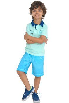 Conjunto casual. Bermuda de sarja com lavagem e camisa polo com bordado. Referência: 1305