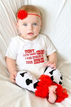 Don't Flatter Yourself Cowboy I was Staring at Your Horse : Baby Country Wear : Baby Cowgirl Onesie ; Baby Cowgirl Outfit