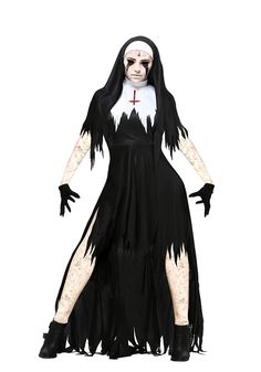 Nerefy Scary Bloody Nuns Costume for Adult Women Evil Vampire Zombie Costume Halloween Party Cosplay Fancy Dress Outfits,Black,S Best Halloween Costumes & Dresses USA Nun Costume, Zombie Halloween Costumes, Adult Costumes, Costumes For Women, Halloween Party, Halloween Makeup, Zombie Costume Women, Devil Costume, Halloween Couples