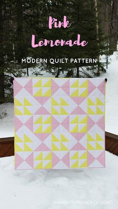 Pink Lemonade Quilt Pattern by Shannon Fraser Designs | Modern Quilting | Baby Girl Quilt