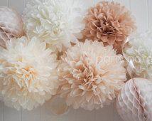 Neutrales... 5 pompones de papel de seda... decoración de la boda / guardería sala de decoración