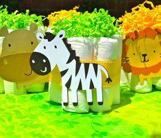 Mini Diaper Cakes table centerpieces in a Safari / Jungle Theme (Set of 6)