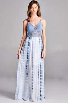 58e30a23552d6 FAITH LINED CROCHET CONTRAST TIE DYE MAXI DRESS #OOTD Everyday Dresses,  Draped Dress,
