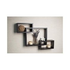 Wood Wall Shelf / Shelves Intersecting Home Modern Style Decor Ledge Espresso #Modern