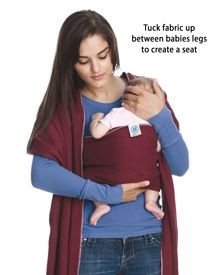 The Kangaroo hold. Your awesome Moby Wrap comes with many comfortable holds for you to choose from! Check out these awesome tutorials! #babywearing #mobywrap