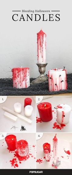 Transform dollar store candles into bleeding votives that really set the tone for an eerie evening of Halloween fun. Transform dollar store candles into bleeding votives that really set the tone for an eerie evening of Halloween fun. Soirée Halloween, Adornos Halloween, Halloween Birthday, Holidays Halloween, Halloween Treats, Halloween Party Ideas, Halloween Makeup, Homemade Halloween, Dollar Store Halloween