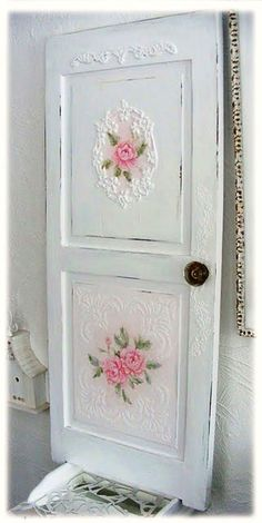 I lived in a condo that had been decorated by a French designer. The dining room wallpaper carried over onto the front of a door that led to a half-bath. I'd never seen that done before, but it was gorgeous.