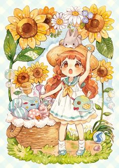 Cute chibi girl with a bunny, sunflowers, & candies
