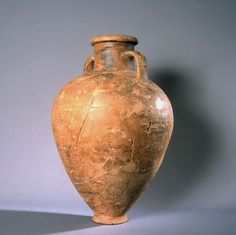 8th-7th C. BCE  Ceramic formed on a potter's wheel, from Phoenician settlement in what is now the coast of Málaga del Cerro del Villar Spain. Greek style amphora, engraved with an egyptian seal in the form of a scarab. Phoenician syncretic style.