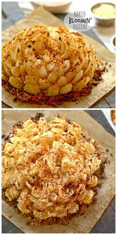 and different bread crumbs or crushed club crackers.This says: Baked Bloomin' Onion! An easy skinny version of my favorite appetizer. Baked Blooming Onion, Blooming Onion Recipes, Vidalia Onion Recipes, Vidalia Onions, Finger Food Appetizers, Appetizer Recipes, Vegetable Dishes, Vegetable Recipes, Bloomin Onion