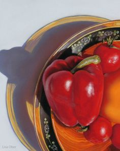 Red Bell Peppers, a pastel painting on paper (10 X 8) by Lisa Ober ©