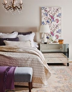 Framed Wallpaper - an inexpensive way to add spring color and pattern to your bedroom