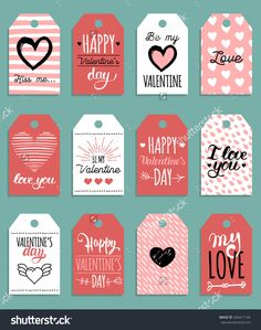Vector Valentine'S Cards Templates. 12 Saint Valentine'S Labels Or Posters. Hand Drawn February 14 Gift Tags. Valentine'S Day Hand Lettering Illustration. Vintage Love Background. - 368417144 : Shutterstock