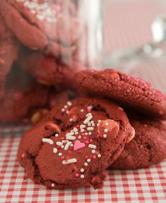 redvelvet cake mix cookies http://www.lisalovesgoodfood.com/red-velvet-cake-mix-cookies/
