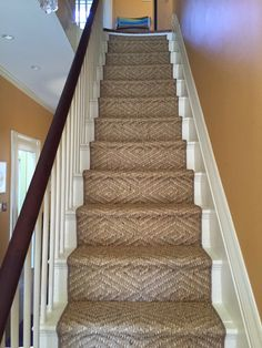 Stairways With Carpet Runners Product Carpet Staircase, Staircase Runner, Carpet Runner On Stairs, Stair Banister, Stair Rods, Sisal Stair Runner, Stair Runners, Bedroom Carpet Colors, Cottage Stairs