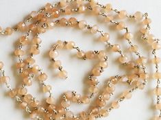 WHOLESALE 5 FEET Peach Moonstone Faceted Rondelle by gemsforjewels
