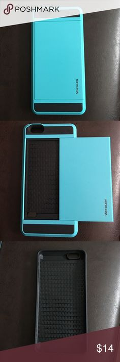 Blue iPhone 6S Plus phone case with wallet holder Awesome blue iPhone 6S Plus phone case! Slides open and can hold about 2-3 cards depending on how slim they are! Very sturdy and protective! In brand new condition Accessories Phone Cases