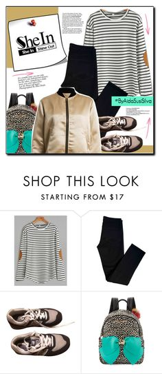 """""""Shein Contest - White Elbow Patch Striped T-shirt"""" by aidasusisilva ❤ liked on Polyvore featuring WithChic, J Brand, New Balance, B Brian Atwood, Sans Souci, CENA and shein"""
