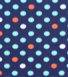 Blizzard Fleece Fabric- Navy Dots