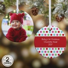 3c20f0cfd6b Baby First Christmas personalized 2018 holiday tree ornament