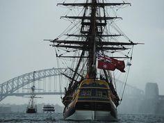 The replica of Captain Cook's HM Bark Endeavour approaches the Sydney Harbour Bridge. Picture: Braden Fastier