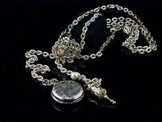 Dorinda: Vintage gold/silver tone chain with pocket watch pillbox, Swarovski crystals and elements by SwankyDame, $39.99