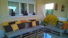 mueble de palets con aire africano