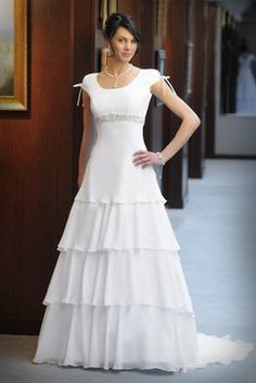 Modest wedding gowns on sale on pinterest venus the for Temple ready wedding dresses