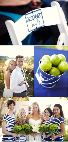i love this wedding, especially the bridesmaids dresses! navy & white stripes, and lime green accents.