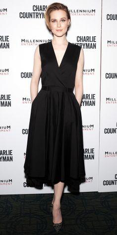Evan Rachel Wood in Robert Rodriguez dress, Jimmy Choo shoes - At a Charlie Countryman screening in New York City. (November 2013)