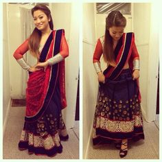 Navy blue lehenga - red choli