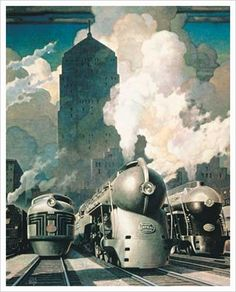 Leslie Darrell Ragan painted heavy industrial equipment the way it might exist on Mt. Olympus. He enshrouded trucks and locomotives with swirling steam and glowing celestial clouds. He painted machinery and buildings at heroic angles and imbued them with an almost divine aura. Speeding trains became works of art under Ragan's inspired vision.
