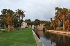 The palms and hamlet, on lake Fogliano, LT