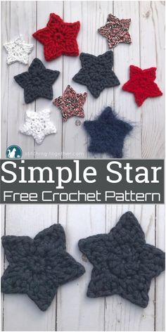 Simple Crochet Star Pattern These crochet star patterns are incredibly easy to make, just two short rounds and your star is done. You can make some stars to hang on your Christmas tree, attach them to special gifts, or work up for your home decoration. Diy Crochet Stitches, Crochet Applique Patterns Free, Fast Crochet, Crochet Flower Patterns, Simple Crochet, Crochet Roses, Crocheted Flowers, Free Pattern, Crochet Christmas Ornaments