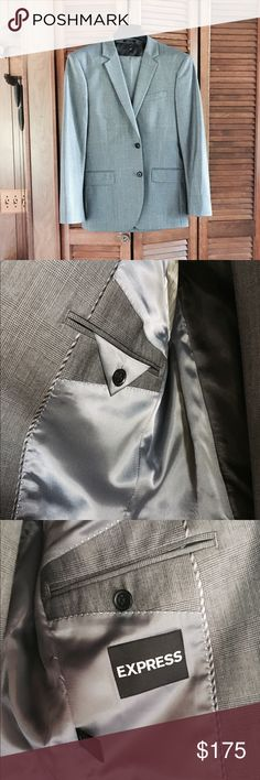 🎉SALE🎉Express Suit Express men's gray checked suit. Brand new, never worn! NWOT. Jacket size 38S, pants 30/32. Modern, slim fit. Express Suits & Blazers Suits