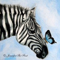 One of my best girl friends is a big zebra lover. When I say big, what I really mean is HUGE - huge as in almost every room in her house is decorated with zebra Zebra Drawing, Zebra Painting, Zebra Art, Animal Paintings, Animal Drawings, Art Drawings, Watercolor Animals, Watercolor Paintings, Zebra Kunst