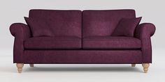 Buy Ashford Large Sofa (3 Seats) Antique Velvet Dark Plum Low Turned - Light from the Next UK online shop