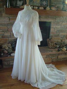 Wedding Dresses Vintage: Vintage Wedding Dress Chiffon With Alencon Lace Bodice 1970s Wedding Dress, Muslim Wedding Dresses, Lace Wedding Dress, Lace Dress, Chiffon Dress, Wedding Vintage, Lace Bodice, Gothic Wedding, Rustic Wedding