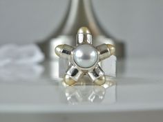 Modernist Heavy Chunky Sterling Silver 925 Mabe Pearl Artisan Ring Size 7 8 9 #Sajen #Statement