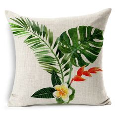 HACASO 18 X 18 Inch Cotton Linen Decorative Throw Pillow Cover Cushion Case Tropical Forest Print * Check this awesome product by going to the link at the image. (This is an affiliate link) Decorative Cushions, Decorative Pillow Covers, Throw Pillow Covers, Hand Painted Dress, Interior Design Themes, Green Throw Pillows, Accent Pillows, Fabric Painting, Cushion Covers