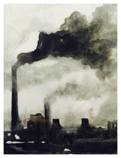 Industrial Scene Pen and Wash by William AthertonYou can find Industrial revolution and more on our website.Industrial Scene Pen and Wash by William Atherton Swing Painting, City Painting, Oil Painting Abstract, Painting Art, Industrial Artwork, Industrial Paintings, Industrial Machinery, Air Pollution Poster, Pen And Wash