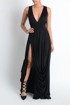 "$56 Deep V cut sexy tank maxi with a slit and draped. Plain back.   95% polyester 5% spandex  60"" long  In stock Link -->> http://www.blu-ivoryboutique.net/collections/dresses/products/sexy-draped-tiffany-maxi?variant=12181763585"