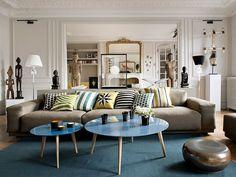Living decorado combinación de tipos de muebles