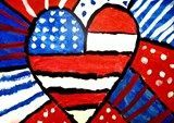 """Romero Britto's painting of the Statue of Liberty, titled """"Freedom"""" and discussed the way he used patterns, dots and stripes to make it more interesting - patriotic art - flag & heart"""