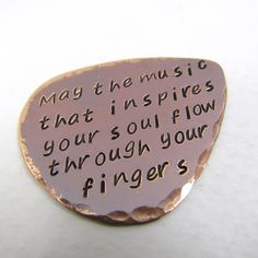 Personalized Copper Guitar Pick, music lover, valentines day, friendship, fathers day, initials. $19.00, via Etsy.