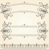 Highly detailed ornamental banners with. Free Vector Graphics, Free Vector Art, Scroll Tattoos, Boarders And Frames, Banner Drawing, Ornament Drawing, Antique Signs, Letter Patterns, Banner Vector